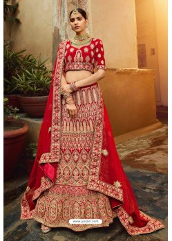 Tomato Red Heavy Embroidered Designer Bridal Lehenga Choli