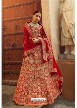 Fabulous Red Heavy Embroidered Designer Bridal Lehenga Choli