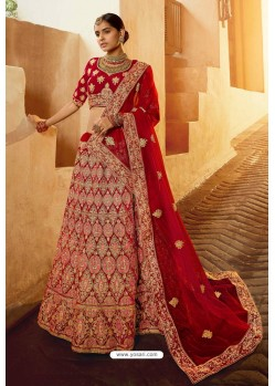 Astonishing Red Heavy Embroidered Designer Bridal Lehenga Choli