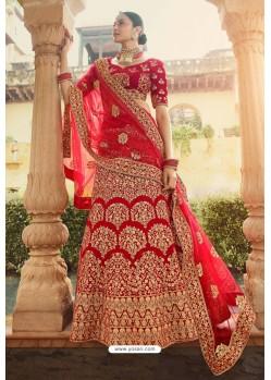 Stunning Red Heavy Embroidered Designer Bridal Lehenga Choli
