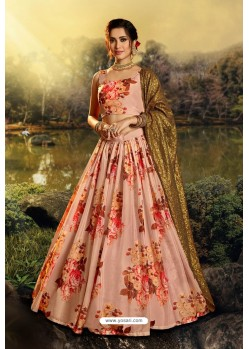 Peach Stylish Designer Party Wear Lehenga