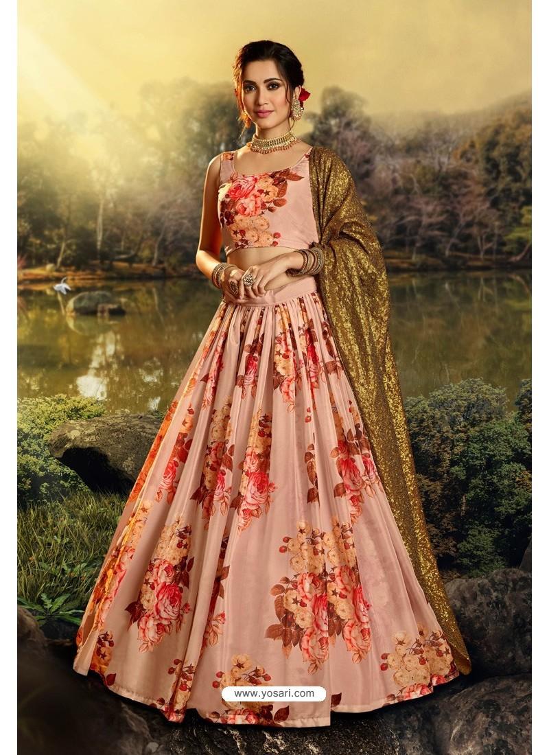Peach Stylish Designer Party Wear Lehenga