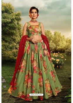 Green Stylish Designer Party Wear Lehenga