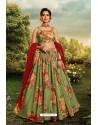 Green Stylish Designer Party Wear Lehenga