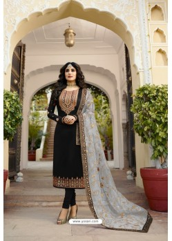 Black Party Wear Georgette Satin Straight Salwar Suit