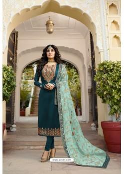 Teal Party Wear Georgette Satin Straight Salwar Suit
