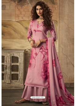 Light Pink Designer Casual Wear Pashmina Palazzo Salwar Suit