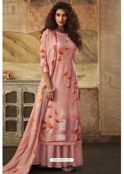 Light Red Designer Casual Wear Pashmina Palazzo Salwar Suit