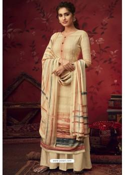 Khaki Latest Casual Wear Pashmina Palazzo Salwar Suit