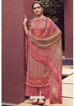 Light Red Designer Casual Wear Pure Cotton Jam Sartin Palazzo Salwar Suit