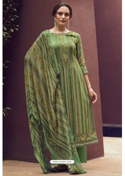 Forest Green Designer Casual Wear Pure Cotton Jam Sartin Palazzo Salwar Suit