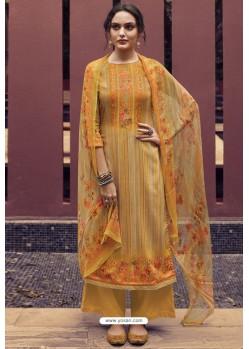 Mustard Designer Casual Wear Pure Cotton Jam Sartin Palazzo Salwar Suit