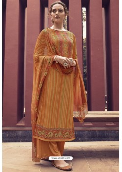 Orange Designer Casual Wear Pure Cotton Jam Sartin Palazzo Salwar Suit