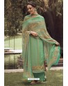 Jade Green Designer Casual Wear Pure Cotton Jam Sartin Palazzo Salwar Suit