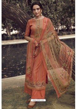 Rust Designer Casual Wear Pure Cotton Jam Sartin Palazzo Salwar Suit