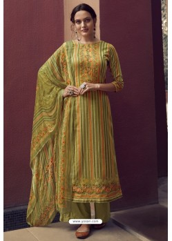 Green Designer Casual Wear Pure Cotton Jam Sartin Palazzo Salwar Suit
