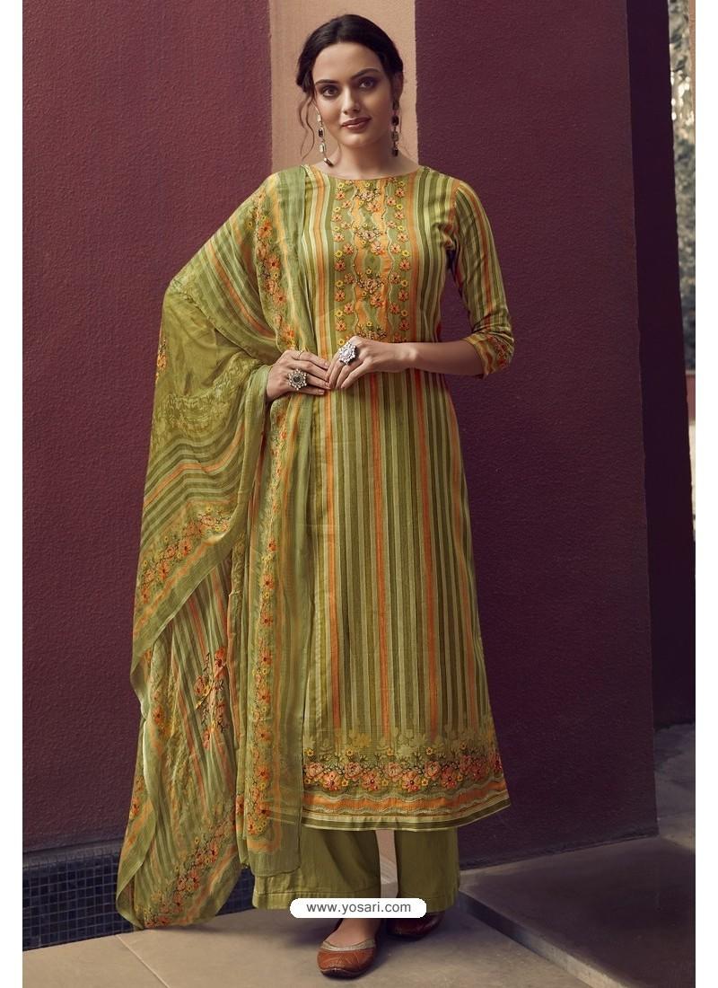 Green Designer Casual Wear Pure Cotton Jam Sartin Palazzo Salwar Suit