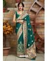 Teal Designer Soft Silk Classic Wear Soft Silk Sari