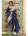 Navy Blue Designer Soft Silk Classic Wear Soft Silk Sari