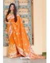 Orange Designer Soft Silk Classic Wear Soft Silk Sari