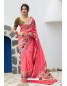Peach Designer Soft Silk Classic Wear Soft Silk Sari