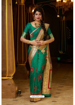 Dark Green Designer Soft Silk Classic Wear Soft Silk Sari