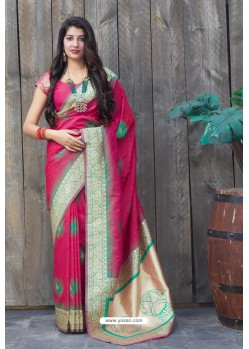Rose Red Designer Soft Silk Classic Wear Soft Silk Sari