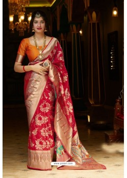 Red Designer Soft Silk Classic Wear Soft Silk Sari