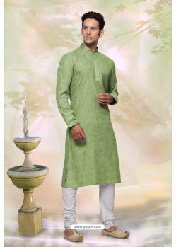 Green Readymade Cotton Designer Kurta Pajama For Men