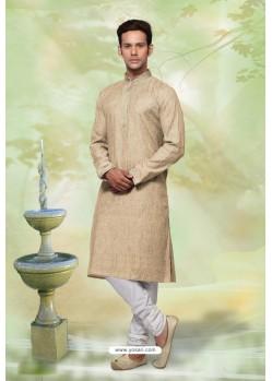 Gold Readymade Khadi Cotton Designer Kurta Pajama For Men