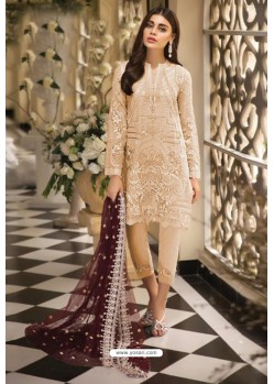 Cream Latest Heavy Designer Pakistani Style Salwar Suit