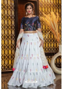 White Heavy Embroidered Designer Party Wear Lehenga