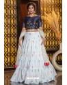 White Heavy Embroidered Designer Party Wear Lehenga