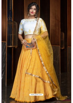 Yellow Heavy Embroidered Designer Party Wear Lehenga