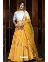 Yellow Heavy Embroidered Designer Party Wear Lehenga