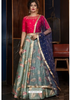 Grayish Green Heavy Embroidered Designer Party Wear Lehenga