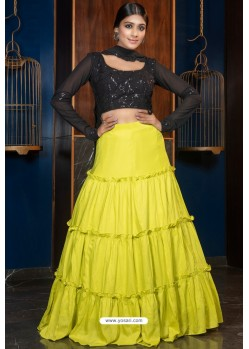 Lemon Heavy Embroidered Designer Party Wear Lehenga