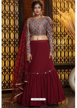 Maroon Heavy Embroidered Designer Party Wear Lehenga