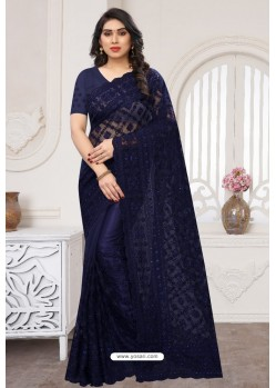 Navy Blue Party Wear Designer Embroidered Sari