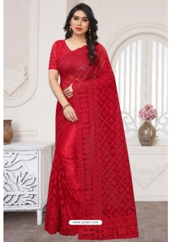 Red Party Wear Designer Embroidered Sari