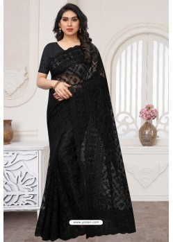 Black Party Wear Designer Embroidered Sari