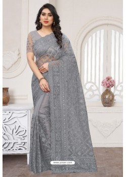 Grey Party Wear Designer Embroidered Sari