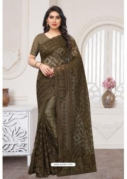Coffee Party Wear Designer Embroidered Sari