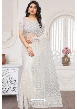 White Party Wear Designer Embroidered Sari