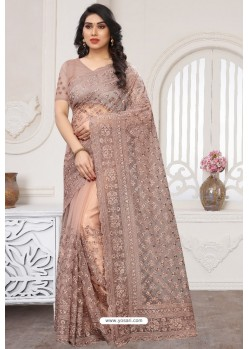 Dusty Pink Party Wear Designer Embroidered Sari