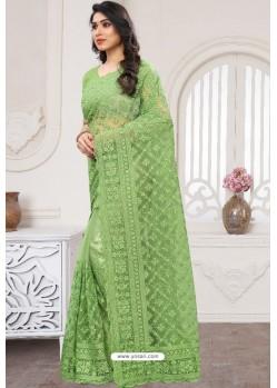 Green Party Wear Designer Embroidered Sari