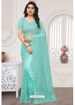 Sky Blue Party Wear Designer Embroidered Sari