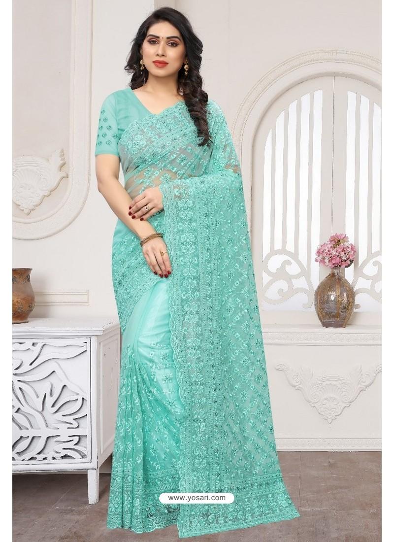 Sky Blue Party Wear Designer Embroidered Sari