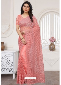 Peach Party Wear Designer Embroidered Sari