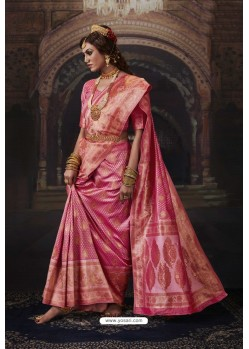Peach Heavy Embroidered Classic Designer Banarasi Silk Sari